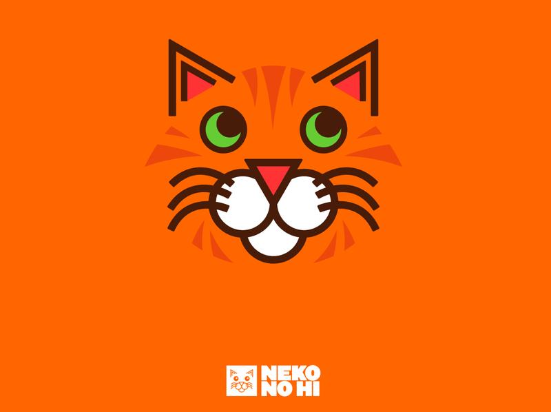 Neko No Hi Styleframe minimalistic minimalism minimalist minimal feline visual novel styleframe concept design typography logomark logotype identity design brand logo branding brand identity orange cats cat