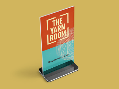 The Yarn Room - Tabletop Stand Graphic minimal orange and blue printing print design table stand flyer print the yarn room crochet knitting yarn advertisement typography logomark logotype identity design brand logo branding brand identity