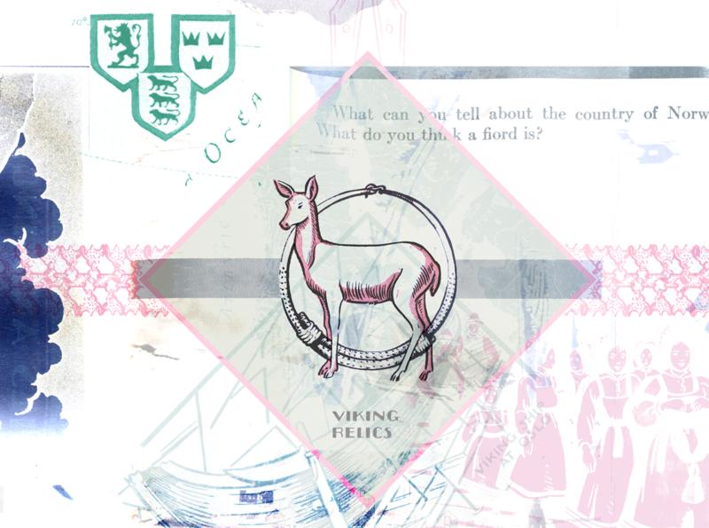 """""""Viking Relics"""" Excerpt pink relics fjord norway scandinavian scandinavia viking deer printmaking art prints halftones halftone design artwork art print print design multimedia collage art print"""