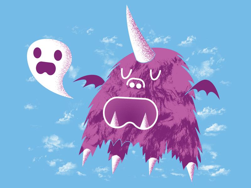 The Unibeast Speaks Ghastly Things beast monster screenprint prints flying adventure time flat print design illustrator grunge halftones halftone purple blue unibeast unicorn ghosts clouds print illustration