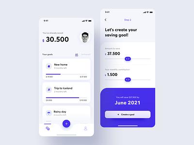 Saving Goals App fintech ux ui money app saving goals mobile finances app