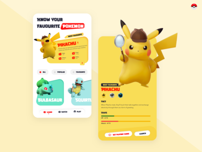 Pokedox : Pokemon Guide App pixel digital user interface design user interface uxui 3d bulbasaur cards ui yellow userinterface application pokemon go pikachu design ui pokemongo pokemon