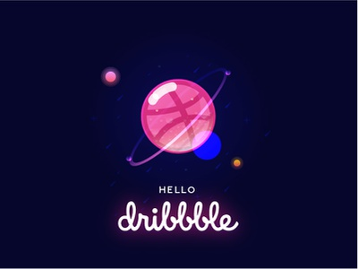 Hello, Dribbble! hello dribbble pink stars space planet new hello dribbble