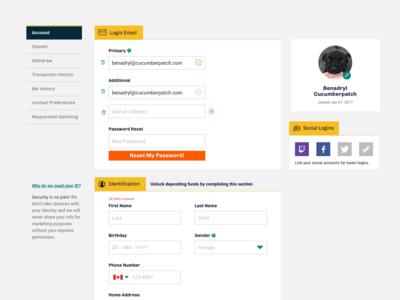 Account Details Page design desktop ui ux profile account