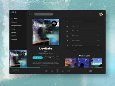 Day 009 |  Music Player desktop ux design ui desiegn music player daily ui 009 daily ui