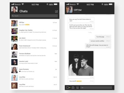 Day 013 | Messenger black and grey minimalist messenger app messenger chat app app daily ui 013 daily ui