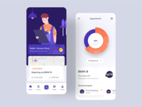 Doctor Auto - Mobile App Exploration chart progress task schedule automotive booking appointment clean app iphonex icon dribbble flatui ux dailyui uiux ui