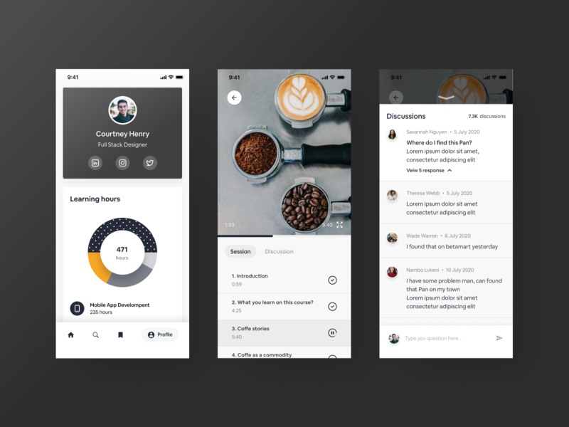 Learning profile -  Course Platform Mobile app discussion conversation video profile ios mobile ui course education mobileapp layout clean app typography icon iphonex ux dailyui uiux ui