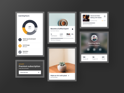 Re usable card components figma listing course campaign piechart progressbar cards ui banner marketing card layout clean app dailyui branding design typography dribbble ux ui