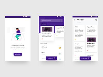 Notes App Exploration typogaphy app purple clean typography flatui mobile app notes iphonex dribbble dailyui illustration gradient uiux ui