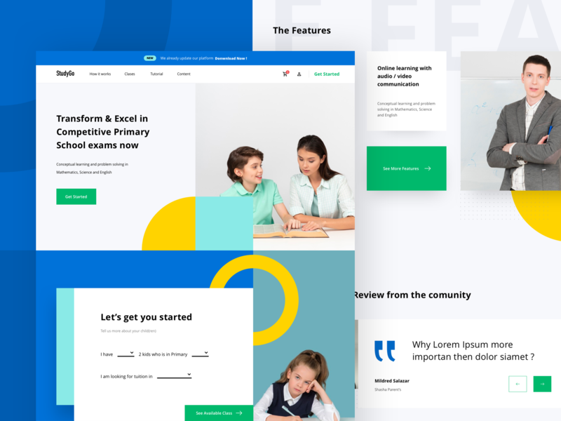 Redesign StudyGo Landing Page minimal website blue education landing page layout typography branding uiux dribbble flatui dailyui ux ui