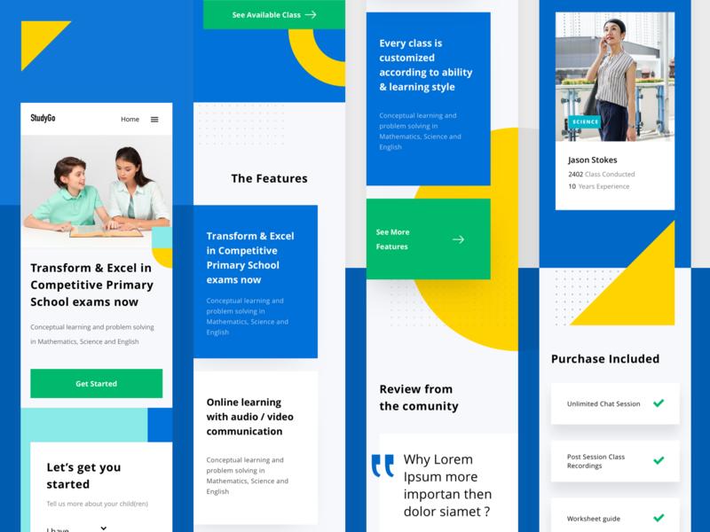 StudyGo Web Mobile Responsive layout type website branding blue interactive design web app responsive mobile app app typography landing page iphonex dribbble flatui dailyui ux uiux ui