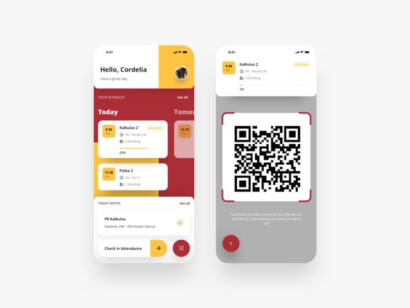 Student Portal - Mobile App Exploration maroon iphone qrcode schedule student typograpghy mobile app layout app typography iphonex dribbble flatui dailyui ux uiux ui