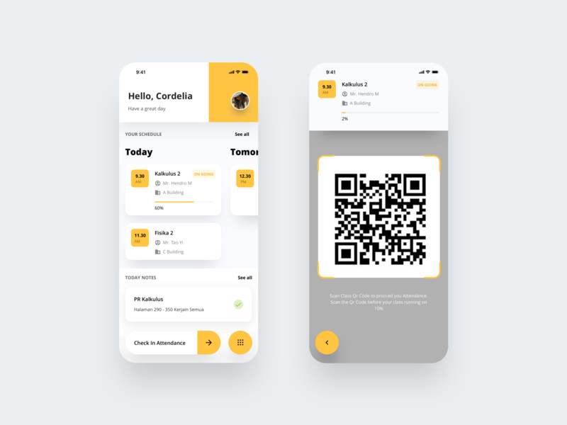 Student Portal - Mobile App Exploration Clean Version yellow flat clean app layout e-commerce design landing page typography icon iphonex dribbble flatui dailyui ux uiux ui