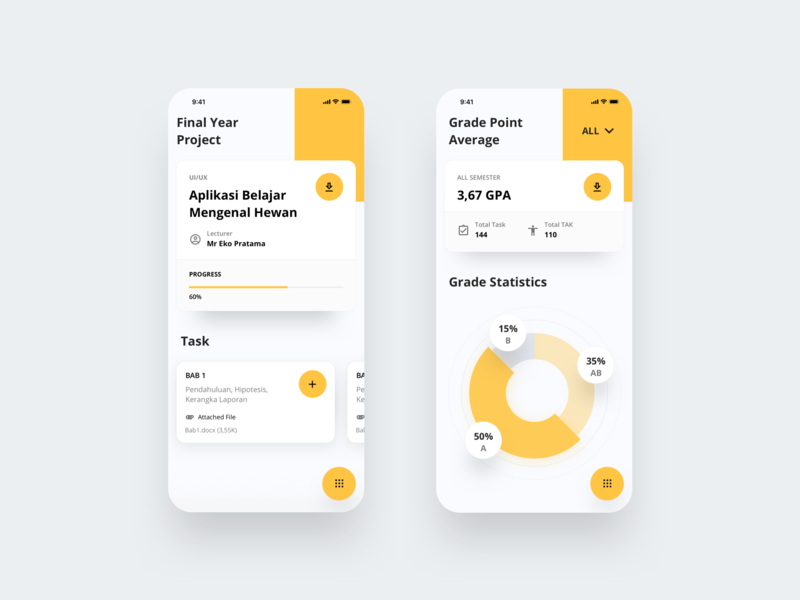 Grade Tracker - Mobile App Exploration education yellow indicator report dashboard file graph clean layout app typography icon iphonex dribbble flatui dailyui ux uiux ui