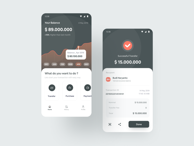 Mobile Banking App Exploration android ux banking finance payment flat mobile app layout design clean app icon typography gradient iphonex flatui dribbble dailyui uiux ui