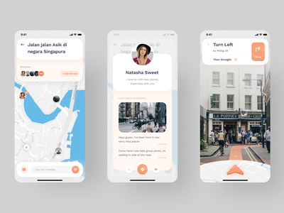 Group Chat for Travelling - Mobile App Exploration augmented reality direction travel app maps chat mobile app layout design clean app icon iphonex typography dribbble flatui dailyui ux uiux ui