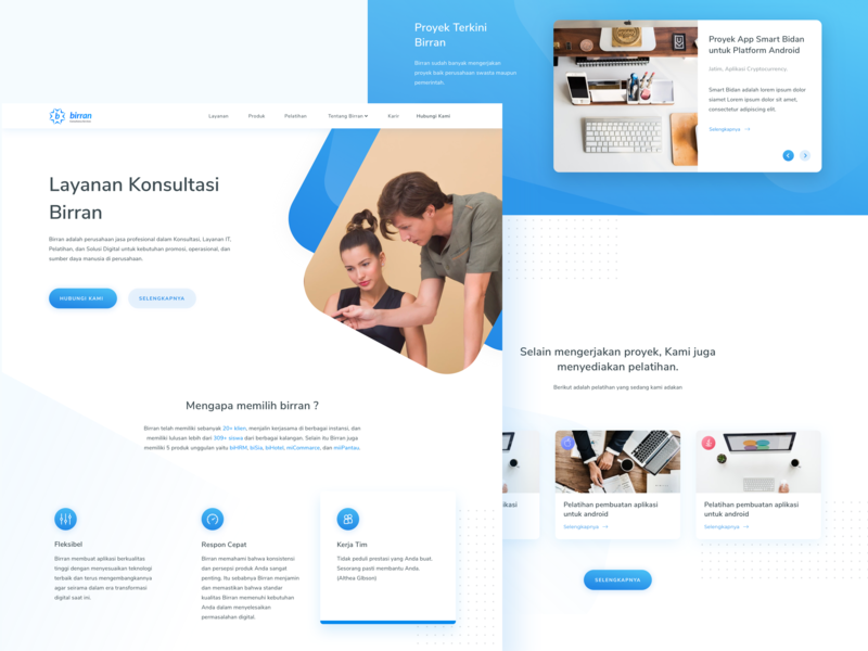 Biran Landing Page - Website Redesign website minimal blue web branding mobile app landing page layout design app clean gradient icon typography dribbble flatui dailyui ux uiux ui