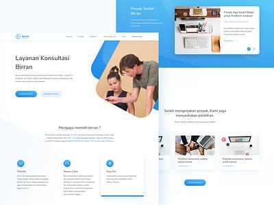 Biran Landing Page - Website Redesign website minimal blue web branding mobile app landing page layout design app clean gradient icon typography dribbble flatui dailyui ux uiux ui