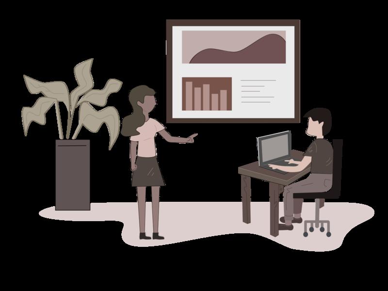 Employee Training design training employee sepia tone office illustrator illustraion