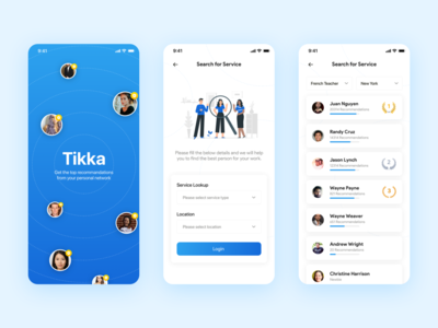 Tikka - Trusted services within your range search results splash screen help workers recommendations friends social network network service finder service app app vector branding ui app design ux design mobile user interface mobile app sri lanka
