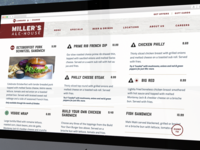 Miller's Ale House Menu Page