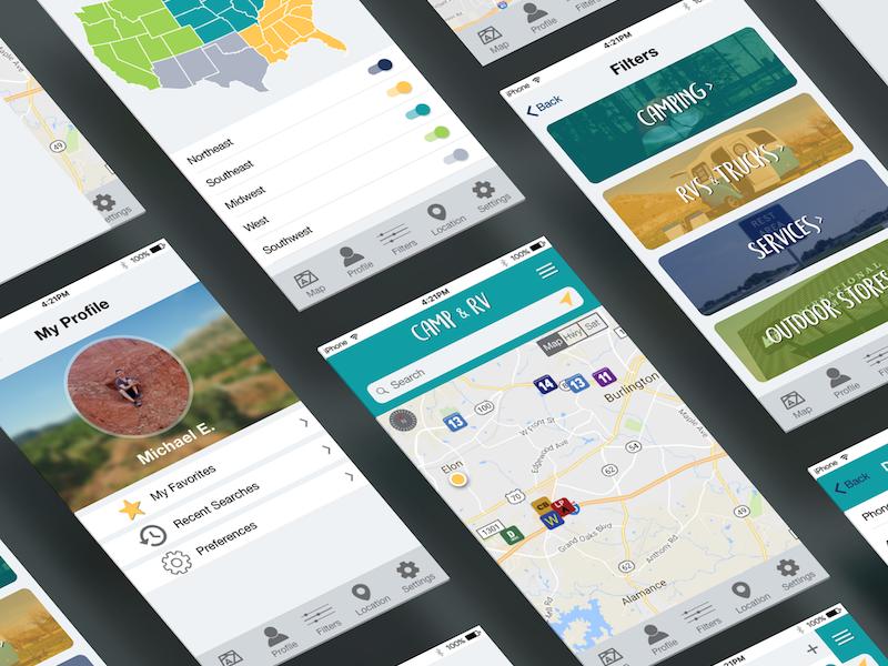 Camp & Rv App Redesign graphic design mobile design ui design