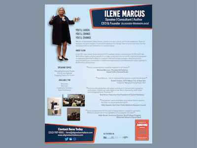 Managing Annoying People Speaker Sheet photography graphic design entrepreneur author speaker