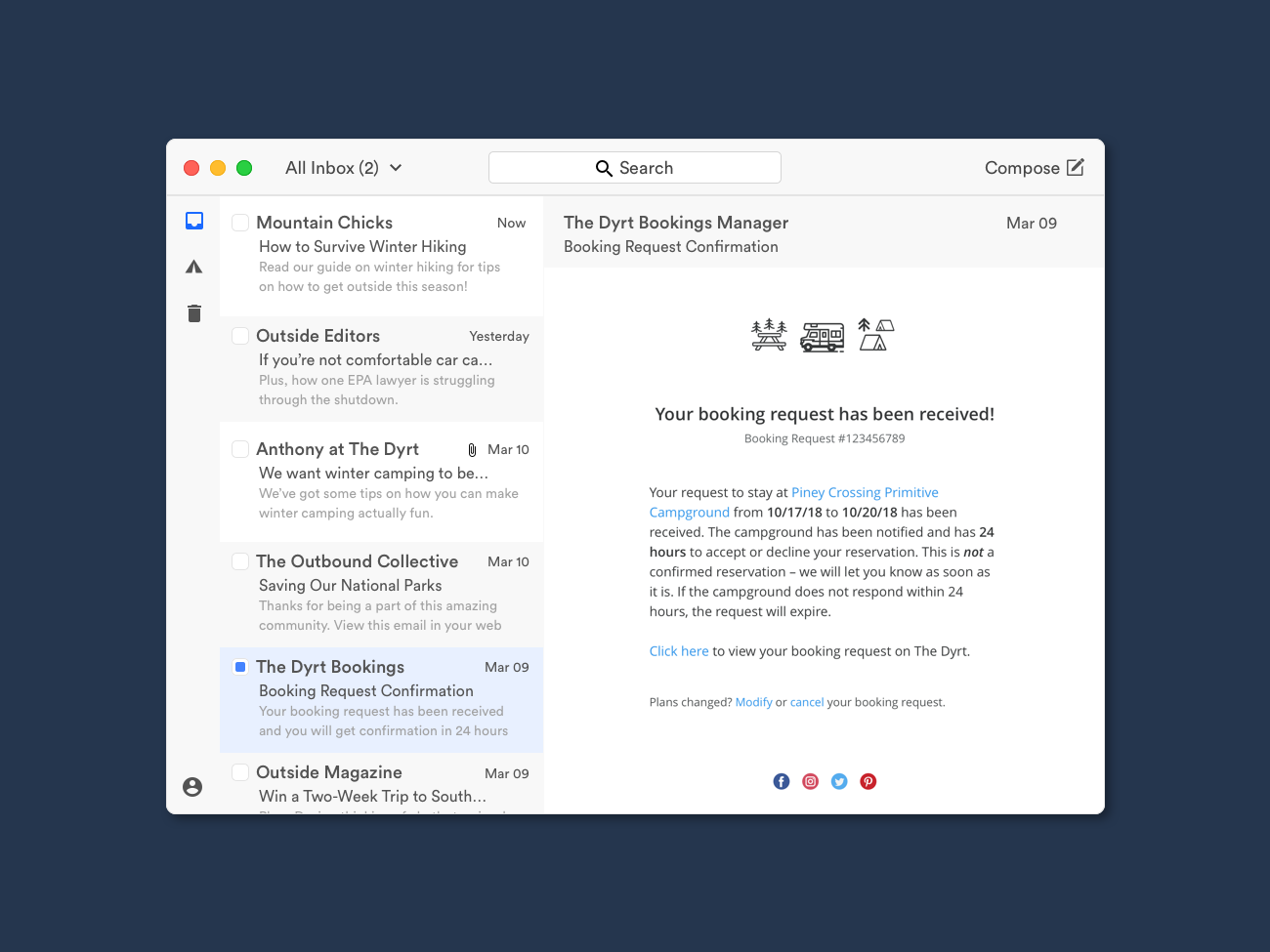 The Dyrt Email Template camping design ui booking email