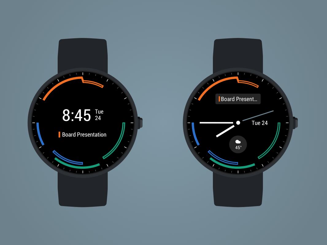 Timecoyl Watchface Display ux ui design watch app calendar android wear watch design watch face