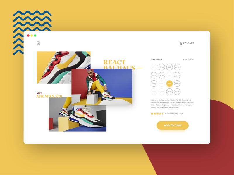 Daily UI Single Product bright colors nike shoes dailyui webpage design webpage desktop minimal ui interface design
