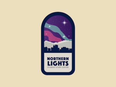 Northern Lights Logo northern lights night stars mountains cityscape logo vector