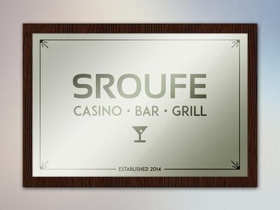 Bar Mirror Sign bar casino grill sroufe mirror sign