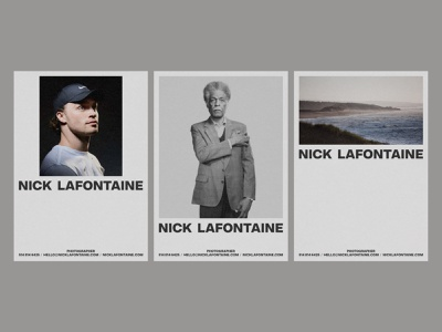 Nick Lafontaine - Layout Explorations photographer photography layout poster branding design typography print