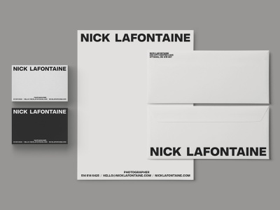 Nick Lafontaine - Stationery photographer photography envelope design letterhead brand print business card businesscard stationery layout typography branding logo