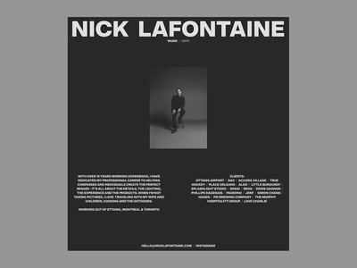 Nick Lafontaine - Info page exploration photography photographer dark brand design branding layout typography logo contact website web