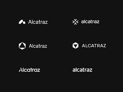 Alcatraz - Logo Explorations white black logo design logotype security typography wordmark mark symbol brand branding logo