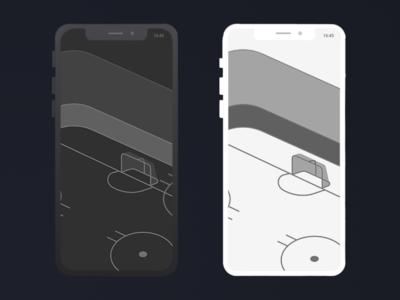 Hockey App illustration perpective hockey app dark and with white theme white dark theme dark flat  design hockey ice ice ice rink rink app hockey