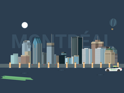 Montreal design skylines skyline vector illustration dark theme dark flat flat design montréal city montreal