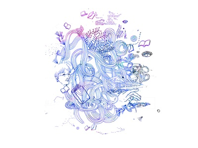 Memory conceptual lines illustration handmade