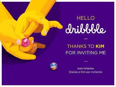 Hello Dribbble illustration helio dribbble first shot debut