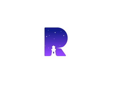 R mark logo design branding lighthouse logo letter r