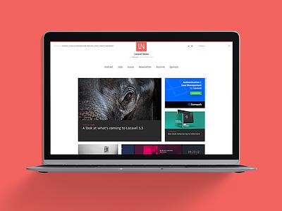 Laravel News Website modular grid red redesign design web ux ui