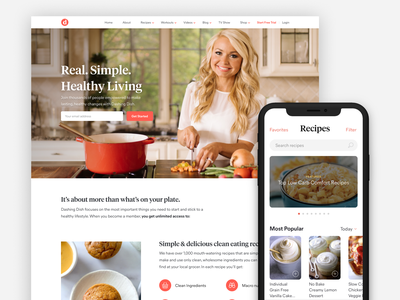 Dashing Dish 3.0 Launch food app mobile responsive dishes dish dashing living healthy workouts recipes food eating clean launch design webdesign web