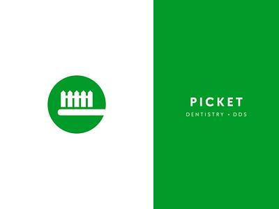 Picket Dentistry symbol branding geometric logotype design logo toothbrush dentist fence picket white