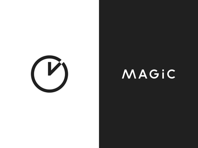 Magic Logo vector branding symbol geometric magical design wand clock logo time magic