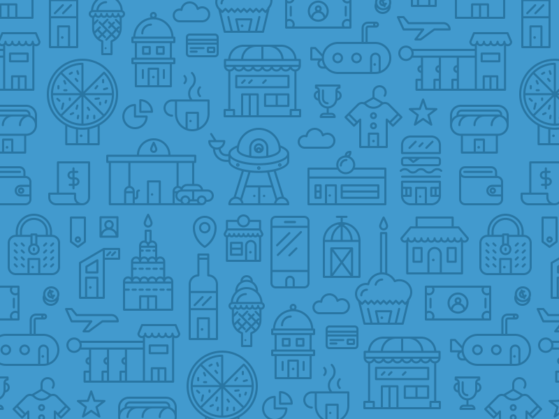 Wisely Pattern illustration pattern buildings food retail tag cloud shop store credit card finance