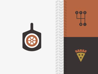 Detroit Pizza Depot pizza design logo shift car wheel automotive detroit