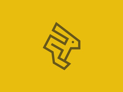 Hare Logo Concept hare linear line bunny hop leap fast express
