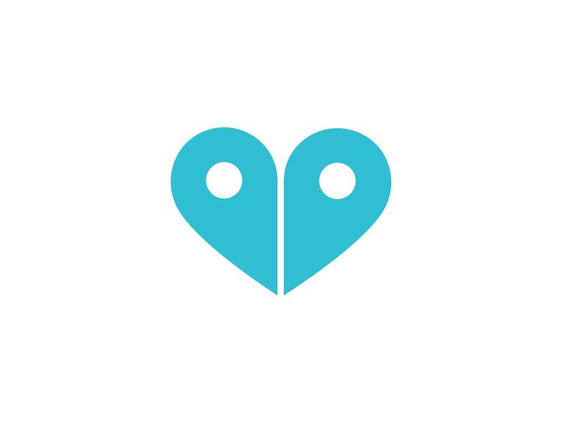 Pin Heart Logo geo pin map location heart